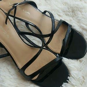 Via Spiga▪Black Patent Strappy Sandals Pumps 8M